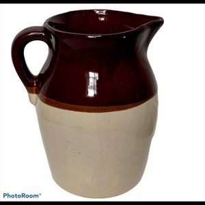 VTG 1950s Brown and Tan Stoneware Pitcher